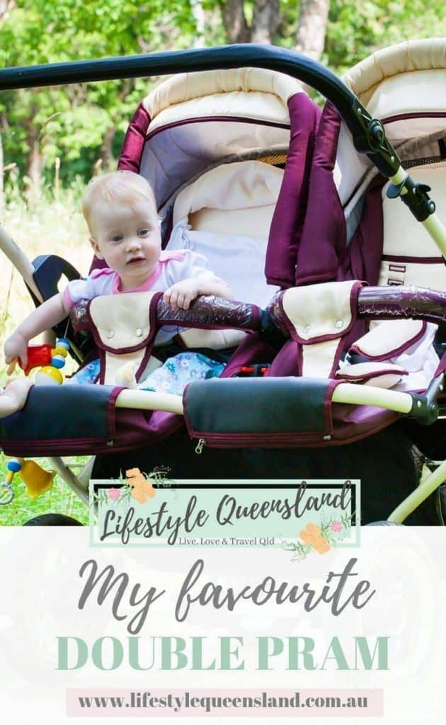 A Pinterest image of my favourite double pram for toddlers