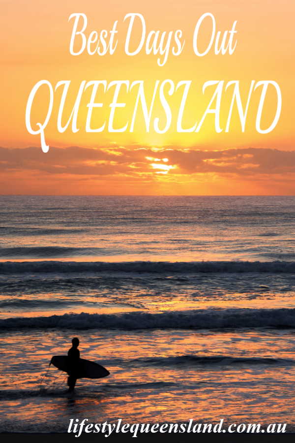 "A Pinterest image on ""how to choose the best days out"" in Queensland with a beach sunset view"