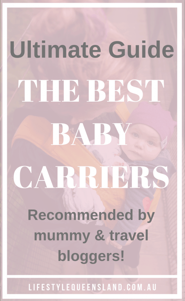 "A Pinterest image on ""how to choose the best baby carrier"" with a mum and a baby in a carrier"