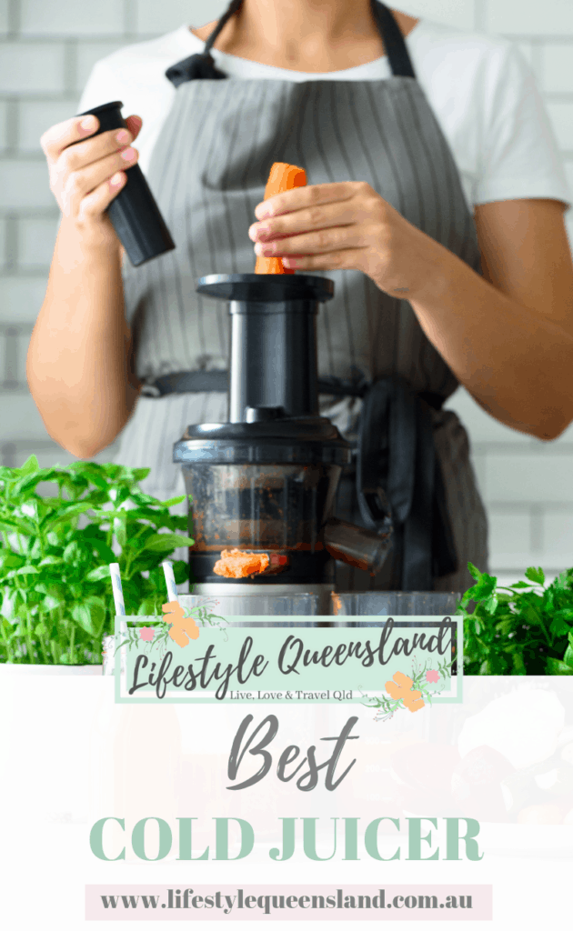 A Pinterest image of a woman using one of the best cold-pressed juicer