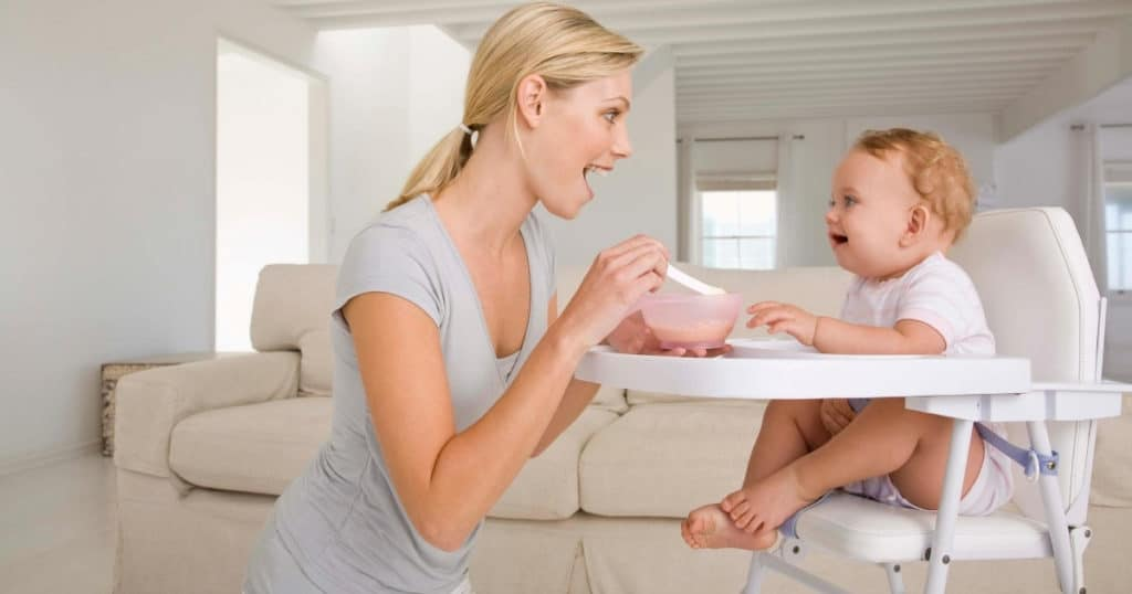 an image of a mum and baby using the best high chair during feeding time