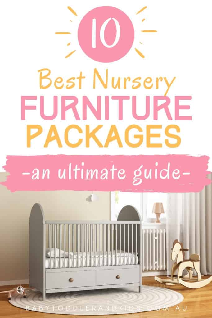pin image with text best nursery furniture packages and an image of a cot and rocking horse
