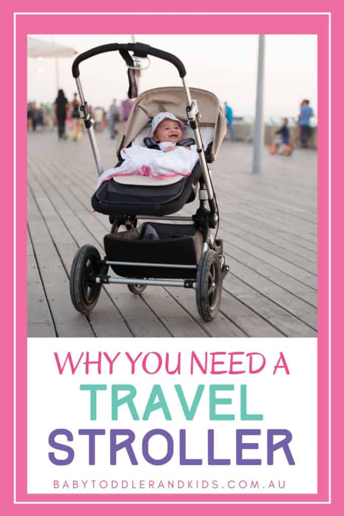 pin image of a baby in a stroller for the best travel stroller article